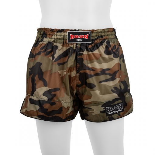 Boon Sport Green Camo Retro Muay Thai Shorts