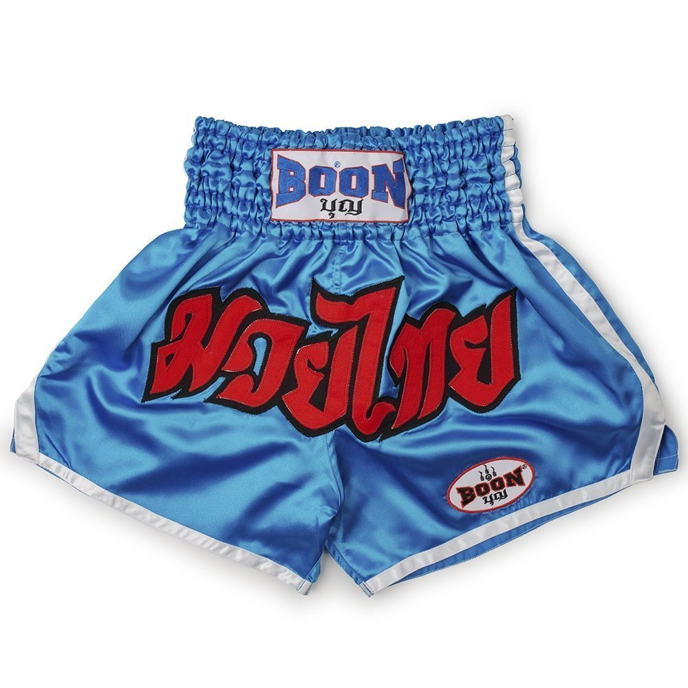 boon sport blue traditional muay thai shorts mt03