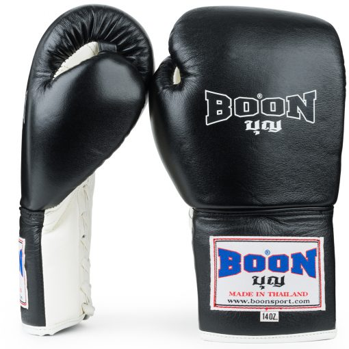 Boon Sport Black & White Lace Up Boxing Gloves