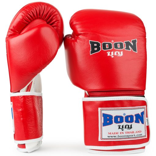 Boon Sport traditional red muay thai boxing gloves