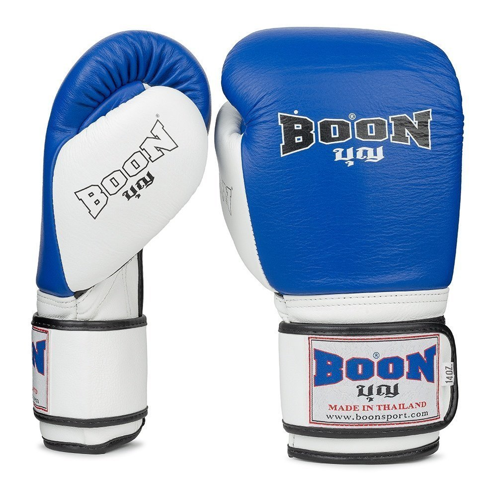 Boon Sport blue and white compact boxing gloves