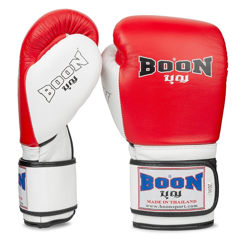 Boon Sport red and white compact boxing gloves