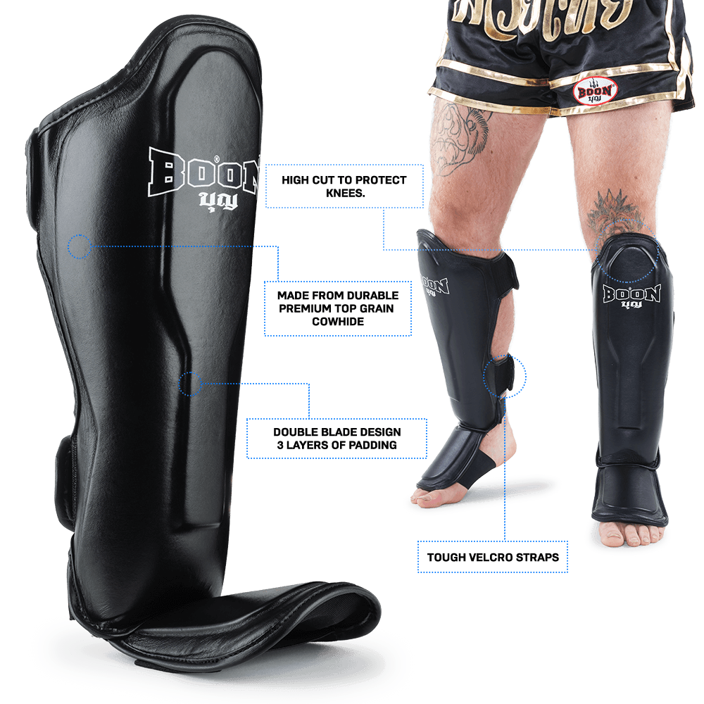 boon muay thai shin guards graphic for mobile